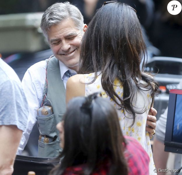 "George Clooney, Amal Clooney sur le tournage du film "" Money Monster "" de Jodie Foster à New York Le 18 Avril 2015"
