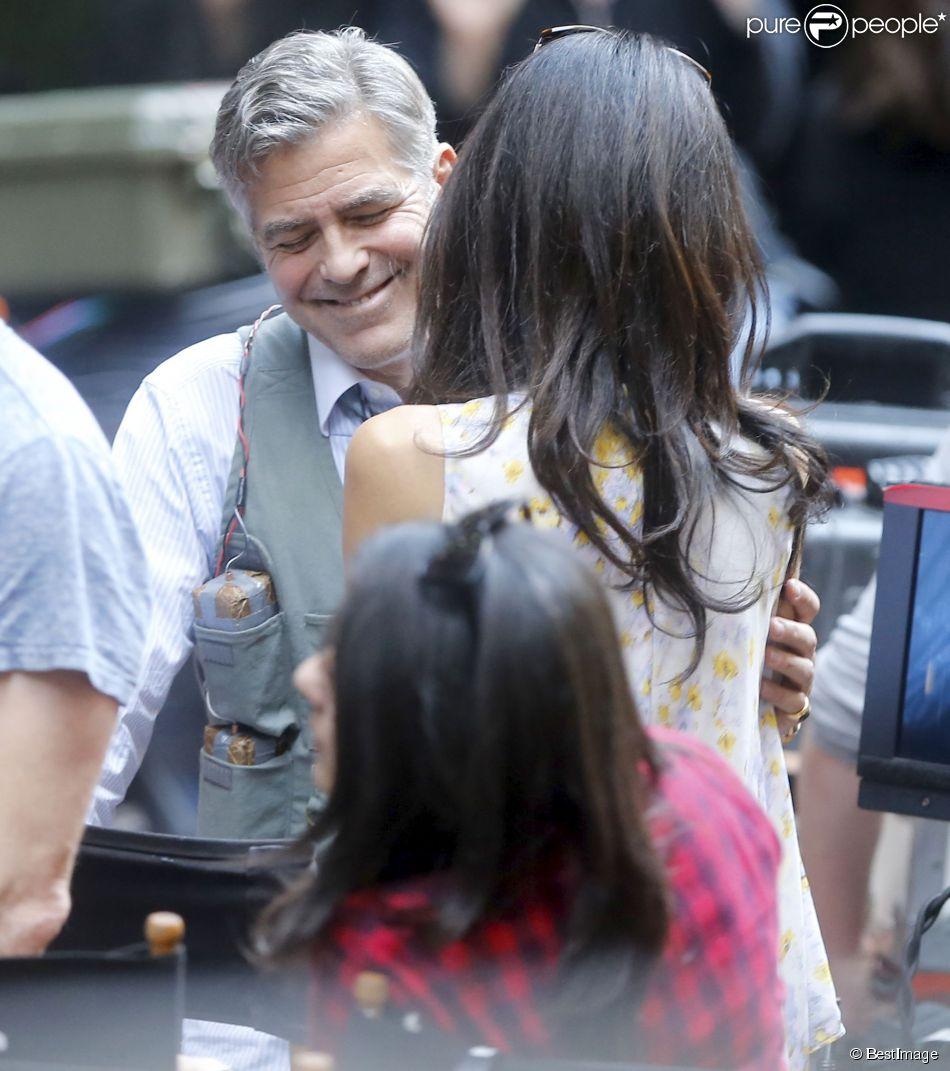 """George Clooney, Amal Clooney sur le tournage du film """" Money Monster """" de Jodie Foster à New York Le 18 Avril 2015"""