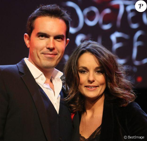 Maxime Chattam et sa femme Faustine Bollaert - Débat avec Stephen King au Grand Rex, le 16 novembre 2013.