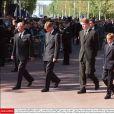 Le duc d'Edimbourg, le prince William, Charles Spencer, 9e comte Spencer, le prince Harry et le prince Charles suivant le cercueil de la princesse Diana lors de ses obsèques le 6 septembre 1997, à Londres.