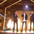 Les quatre finalistes de  The Voice 4  sur TF1, le samedi 25 avril 2015.