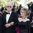 """Michael Caine et Jane Fonda - Montée des marches du film """"Youth"""" lors du 68e Festival de Cannes, le 20 mai 2015."""