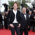 """Périco Légasse et sa femme Natacha Polony - Montée des marches du film """"Macbeth"""" lors du 68e Festival International du Film de Cannes, le 23 mai 2015."""