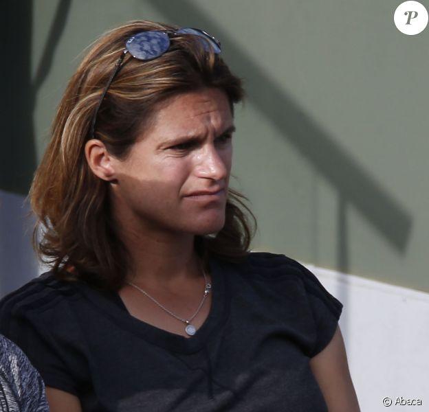 Amélie Mauresmo, enceinte, assiste au premier match d'Andy Murray à Roland-Garros, le 25 mai 2015 à Paris