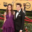 "Keira Knightley enceinte et son mari James Righton - 21e cérémonie annuelle des ""Screen Actors Guild Awards"" à l'auditorium ""The Shrine"" à Los Angeles, le 25 janvier 2015. L'actrice vient de donner naissance à son premier enfant."