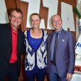 Mats Wilander, Caroline Wozniacki et Giuseppe Lavazza, vice-président de Lavazza - Lavazza fête ses 120 ans au Village de Roland-Garros à Paris, le 26 mai 2015.