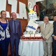 Mats Wilander, Caroline Wozniascki, Giuseppe Lavazza, vice-président de Lavazza, Jean Gachassin, Fabrice Santoro et Toni Nadal - Lavazza fête ses 120 ans au Village de Roland-Garros à Paris, le 26 mai 2015.