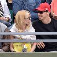 Zlatan Ibrahimovic et sa compagne Helena Seger ont assisté à la victoire de Novak Djokovic au second tour des Internationaux de France à Roland-Garros, le 28 mai 2015 à Paris