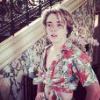 """Madonna s'est amusée à déguiser son fils Rocco comme son ex-mari Sean Penn, dans le film """"Ca chauffe à Ridgemont"""". Le 18 août 2014."""