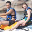 """"""" Lourdes Leon et son frère Rocco Ritchie, les enfants de Madonna, font du jet-ski pendant leurs vacances dans le sud de la France avec des amis, le 4 août 2014. """""""