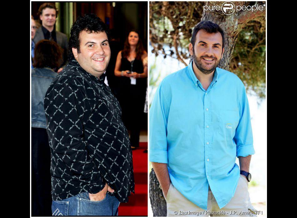 Laurent Ournac. A gauche : en 2006. A droite : en 2015 sur le tournage de  Camping Paradis  (épisode diffusé le mardi 23 juin 2015 à 20h55 sur TF1).