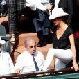 Renaud Capuçon, Jean Gachassin et Caroline Nielsen lors du tournoi de tennis de Roland-Garros à Paris le 3 juin 2015