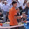 Novak Djokovic, Rafael Nadal - Victoire de Novak Djokovic sur Rafael Nadal en quarts de finale du tournoi de Roland Garros (7/5-6/3-6/1) à Paris, le 3 juin 2015.