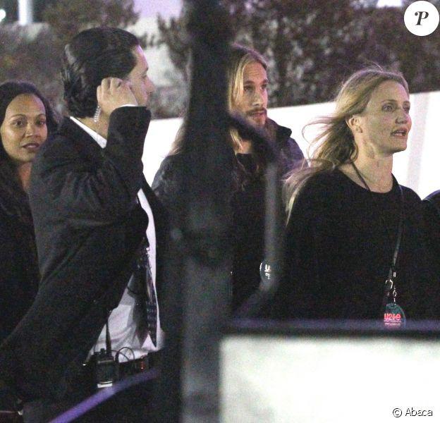 Zoe Saldana et son mari Marco Perego retrouvent Cameron Diaz et Benji Madden - Concert de U2 au Inglewood Forum to see legendary rock band U2 live in concert in Inglewood, Los Angeles le 3 juin 2015