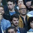 M. Pokora et Pascal Obispo au Stade de France pour la rencontre France - Belgique à Saint-Denis le 7 juin 2015