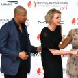 La princesse Charlene de Monaco entourée de Terrence Howard, Taraji P. Henson et Danny Strong (Empire) lors de la soirée d'ouverture du 55e Festival international de télévision de Monte-Carlo, le 13 juin 2015 au Grimaldi Forum.