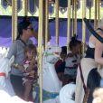 Kim Kardashian, enceinte et son mari Kanye West ont emmenè leur fille North pour son 2ème anniversaire avec le reste de la famille à Disneyland à Anaheim, le 15 juin 2015. Kourtney Kardashian, ses enfants Mason et Penelope Disick, Kendall et Kylie Jenner, le rappeur Tyga et son fils King Cairo étaient présents.  Please Hide Children's Face Prior To The Publication - Pregnant reality star Kim Kardashian and husband Kanye West take their daughter North to Disneyland for her 2nd birthday in Anaheim, California on June 15, 2015. Joining the family was Kourtney Kardashian, her kids Mason and Penelope, Kendall and Kylie Jenner, Tyga and his son King Cairo. Kris Jenner and Scott Disick did not attend with the family.15/06/2015 - Anaheim