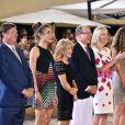 Jan Tops (président du Longines Global Champions Tour), Charlotte Casiraghi, Diane Fissore (présidente de la fédération équestre de la Principauté et organisatrice du Jumping) et le prince Albert II de Monaco lors de la soirée de clôture du Jumping de Monte-Carlo, à Monaco le 27 juin 2015