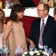 La princesse Caroline de Hanovre, le prince Albert II de Monaco, Charlotte Casiraghi lors de la soirée de clôture du Jumping de Monte-Carlo, à Monaco le 27 juin 2015