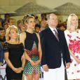 Diane Fissore (présidente de la fédération équestre de la Principauté et organisatrice du Jumping International de Monte-Carlo), Charlotte Casiraghi et le prince Albert II de Monaco lors de la soirée de clôture du Jumping de Monte-Carlo, à Monaco le 27 juin 2015