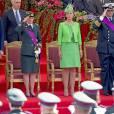 Le prince Lorenz, la princesse Astrid, la princesse Claire et le prince Laurent de Belgique lors du défilé militaire de la Fête nationale, le 21 juillet 2015 à Bruxelles.