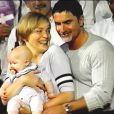 Sharon Stone et Phil Bronstein au bapteme de laur fils adoptif Roan en Octobre 2000