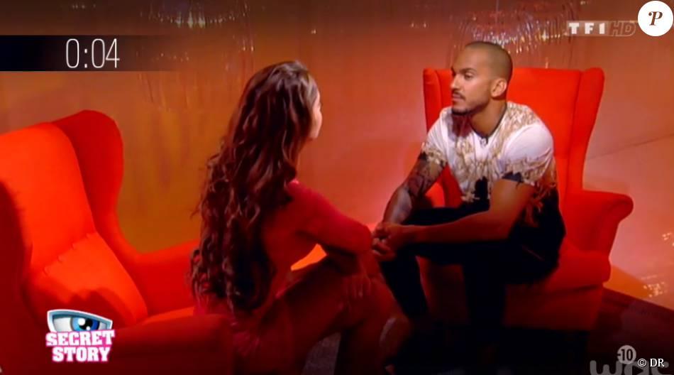 """Coralie et Nicolas défendent """"Nous sommes les sujets d'une expérience amoureuse inédite"""", dans Secret Story 9, sur TF1, le vendredi 21 aout 2015"""