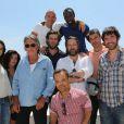 """Photocall de l'équipe du film """"Les Francis"""" de Fabrice Begotti en Corse, le 3 juin 2014. Alice David, Jenifer Bartoli, Jacques Dutronc, Jib Pocthier, Lannick Gautry, Fabrice Begotti, Thierry Neuvic, Thomas VDB, Medi Sadoun et Cyril Gueï lors d'un photocall de l'équipe du film """"Les Francis"""" du réalisateur Fabrice Begotti à l'hôtel restaurant Cala di Sole près d'Ajaccio en Corse, le 3 juin 2014."""
