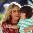 La chanteuse Shakira et son fils Milan lors de la finale de la coupe du monde de la FIFA 2014 à Rio de Janeiro, le 13 juillet 2014