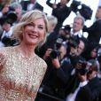 Michèle Laroque (Robe Zuhair Murad, bague et boucles d'oreilles Montblanc Princesse Grace de Monaco Pétale Entrelacés en or rose et diamants) lors du 67e Festival du film de Cannes le 16 mai 2014.