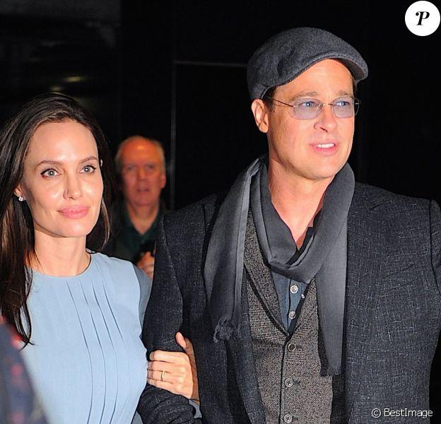 Angelina Jolie et son mari Brad Pitt à la première du film 'By The Sea' réalisé par Angelina à New York, le 3 novembre 2015.