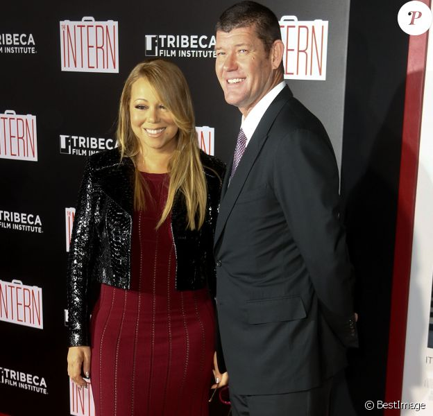 Mariah Carey et son compagnon James Packer à la première de 'The Intern' au Ziegfeld Theatre à New York, le 21 septembre 2015
