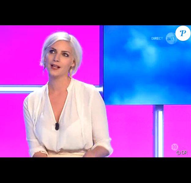 Nadège Lacroix sur le plateau du débrief de Secret Story 9, le 28 août 2015 sur NT1.