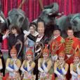 Image de la conférence de presse de lancement du 40e Festival international du cirque de Monte-Carlo, sous la présidence de la princesse Stéphanie de Monaco, le 12 janvier 2016 sous le chapiteau de Fontvieille. © BestImage/Michael Alesi