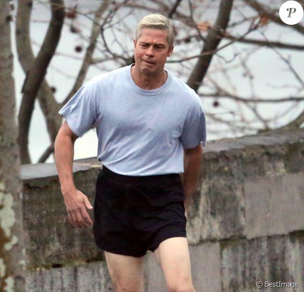 """Exclusif - L'acteur Brad Pitt sur le tournage de """"War Machine"""" à Paris. Le 31 janvier 2016."""