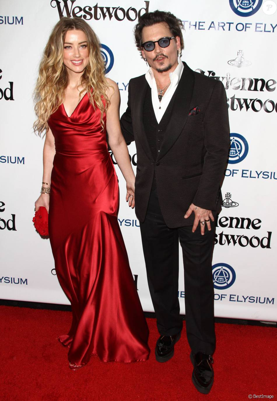 Johnny Depp et sa femme Amber Heard - 9ème Gala Heaven organisé par l'association The Art Of Elysium à Culver City le 9 janvier 2016.