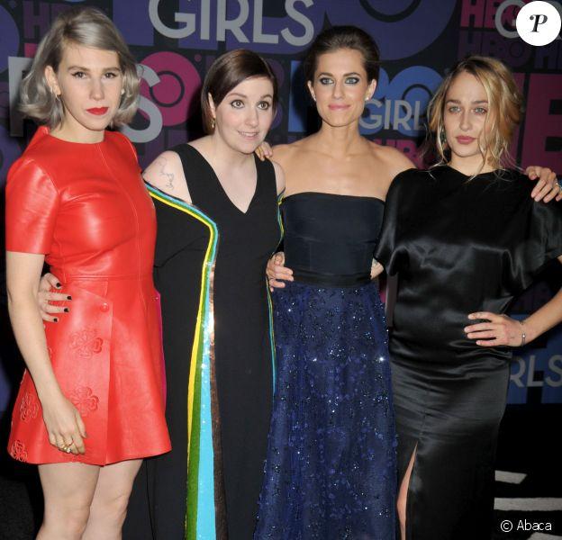 """Zosia Mamet, Lena Dunham, Jemima Kirke et Allison Williams à l'avant-première de la saison 4 de """"Girls"""" à New York, le 5 janvier 2015."""