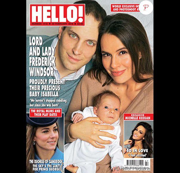 Lord Freddie Windsor et Sophie Winkleman présentent leur fille Isabella dans le magazine Hello! en date du 22 février 2016, un mois après sa naissance.