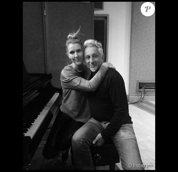 Céline Dion et Humberto Gatica, en studio à Las Vegas, le 18 février 2016