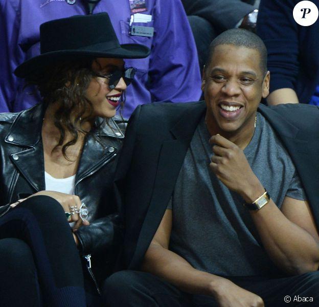 Beyoncé et Jay-Z au Staples Center de Los Angeles lors de la rencontre entre les Clippers de Los Angeles et les Warriors de Golden State, le 20 février 2016