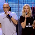 Tal, Pascal Obispo, Sandrine Kiberlain et Marc Lavoine, lors du concert des Enfoirés à l'AccorHotels Arena à Paris, diffusé le vendredi 11 mars sur TF1.