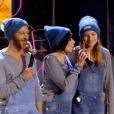 Kad Merad, Christophe Maé, Liane Foly et Thomas Dutronc, lors du concert des Enfoirés à l'AccorHotels Arena à Paris, diffusé le vendredi 11 mars sur TF1.