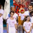 Michaël Youn, Pierre Palmade, Grégoire et Jeff Panacloc, lors du concert des Enfoirés à l'AccorHotels Arena à Paris, diffusé le vendredi 11 mars sur TF1.