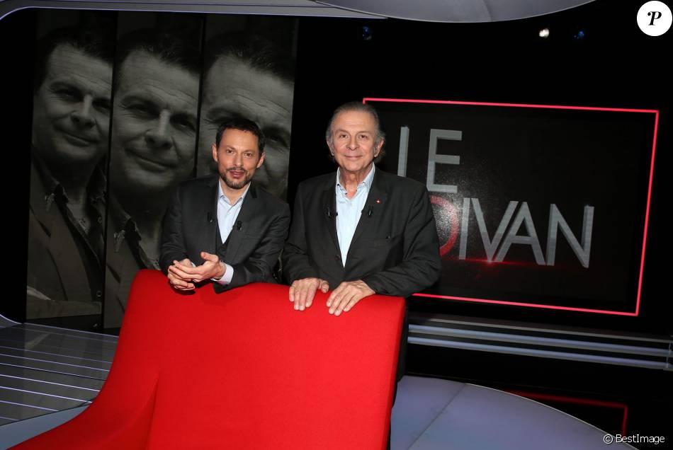 Exclusif - Roland Giraud et Marc-Olivier Fogiel, lors du tournage de l'émission  Le Divan  (enregistrée le 18 mars 2016), diffusée le mardi 22 mars 2016 à 23h10 sur France 3. © Dominique Jacovides
