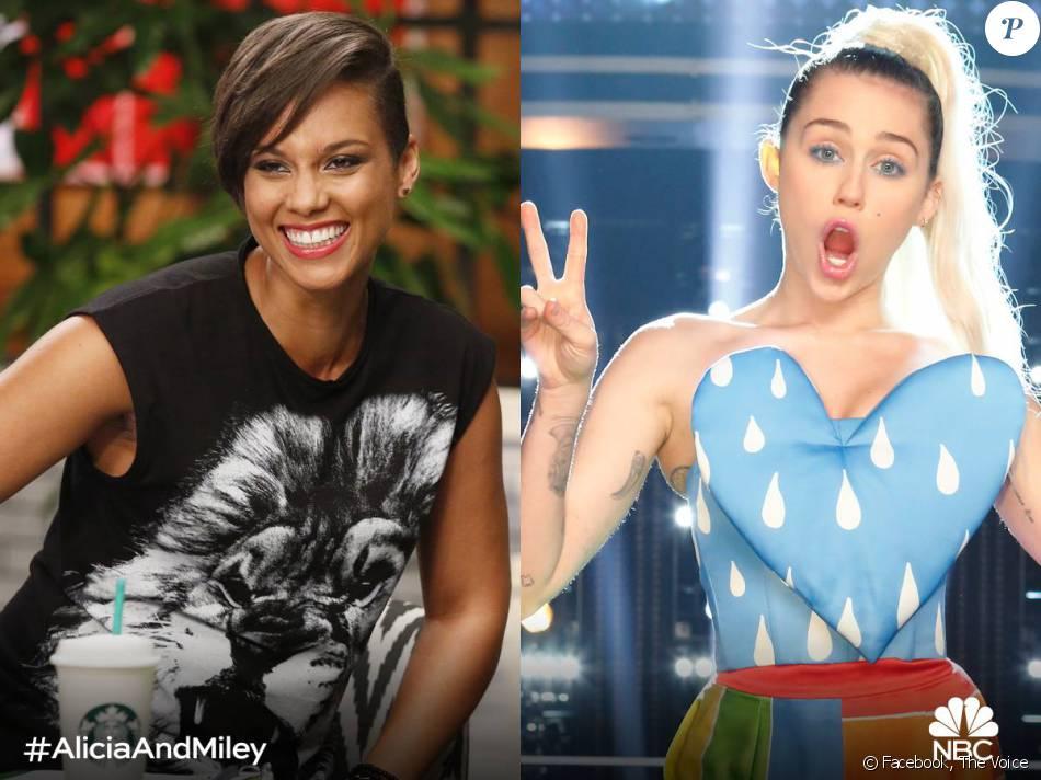 Alicia Keys et Miley Cyrus sont les nouveaux coaches de l'émission The Voice ! Photo publiée le 25 mars 2016.