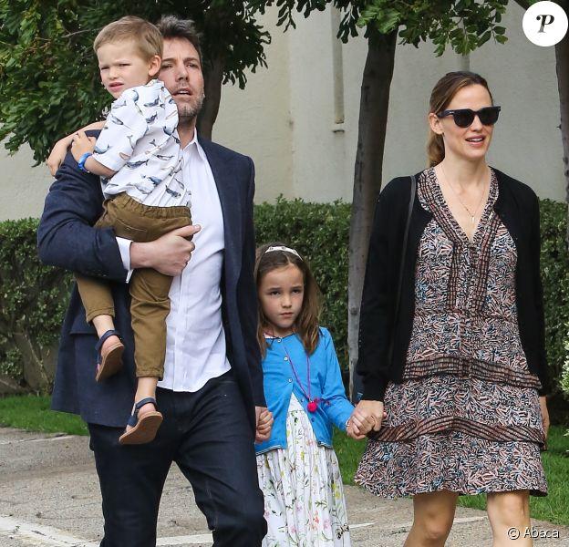 Jennifer Garner et Ben Affleck avec Seraphina et Samuel pour Pâques à Los Angeles, Cle 27 mars 2016.