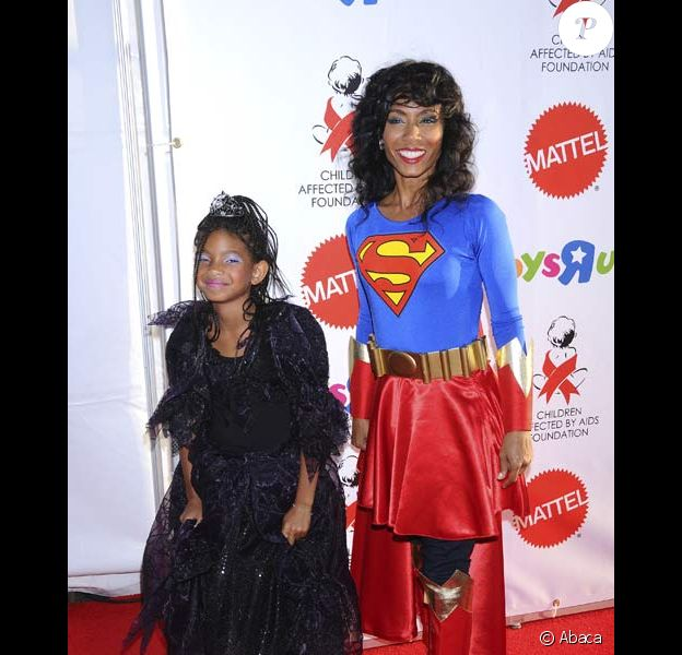 Jada Pinkett Smith et Willow à la fête organisée par AIDS pour Halloween, le 25/10/08