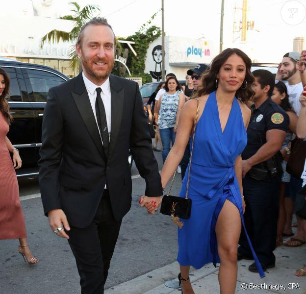 Le DJ David Guetta et sa compagne Jessica Ledon au mariage d'Isabela Rangel et David Grutman à Miami le 23 avril 2016