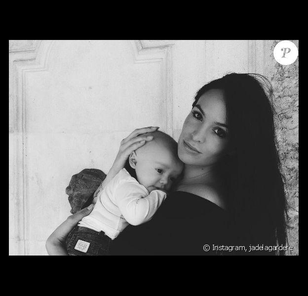 L'épouse d'Arnaud Lagardère, Jade Foret a publié une photo avec son fils Nolan, sur sa page Instagramle 28 avril 2016