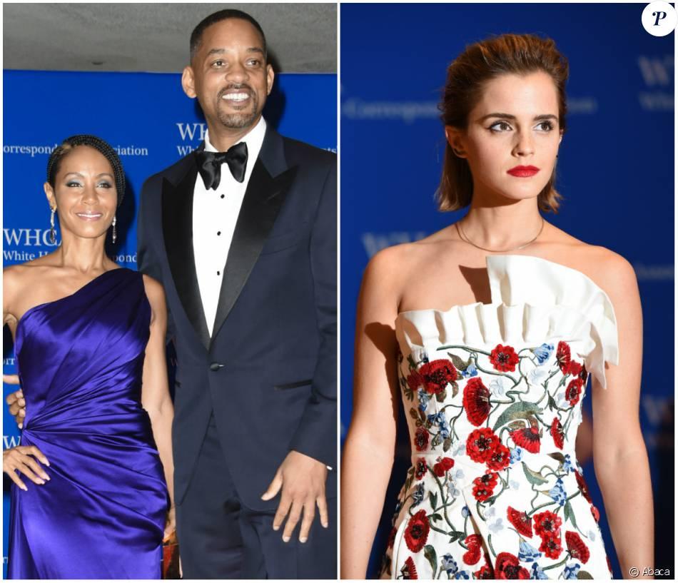 Jada Pinkett, Will Smith et Emma Watson au dîner des correspondants à la Maison Blanche, le 30 avril 2016